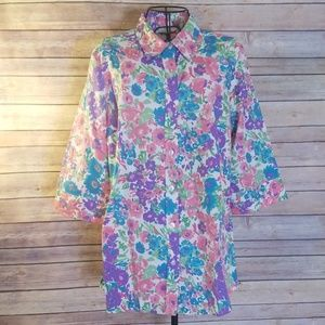 NWOT Blair M floral button down shirt